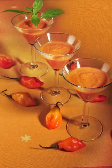 verrine glacée de tomate et piment végétarien